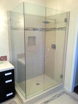 frameless shower door grey modern tile