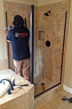 shower door installation oiled bronze